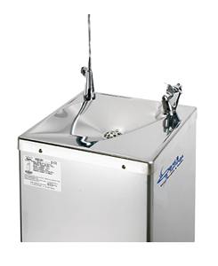 the wft6 drinking water fountain has durable push button operated bubbler and glass filler faucets it is connected to the halfountain